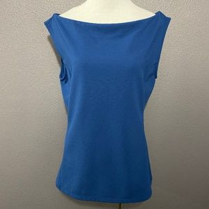 The Limited M Blue Boat Neck Sleeveless Top Blouse